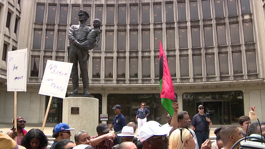 Demonstrations at Philadelphia Police Headquarters over alleged social media posts.