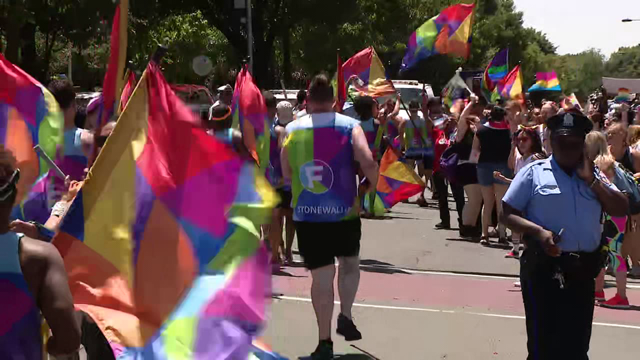 Participants in Philly Pride Parade 2019.