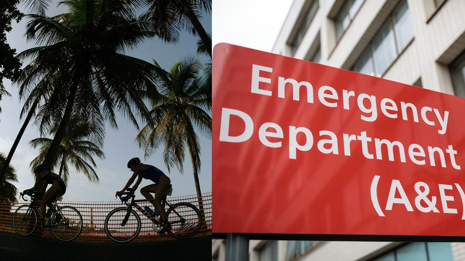 Triathlon competitors pass under palm trees in this 2003 file photo, alongside a file image of an emergency department sign.