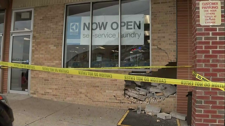 Vehicle reportedly drove into laundromat in Torresdale Sunday.