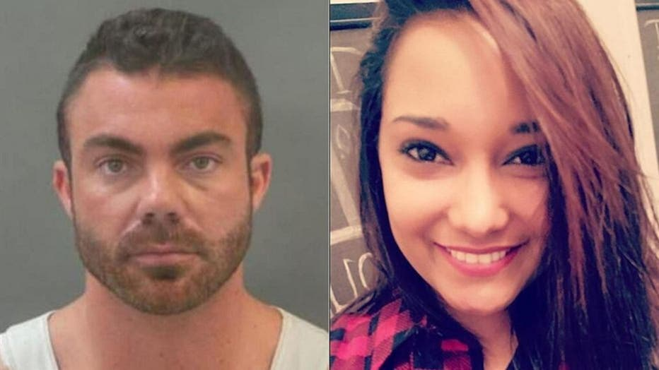 Bradley Jenkins, 30, pictured in a booking photo alongside an undated image of Allissa Jenkins (née Martin).