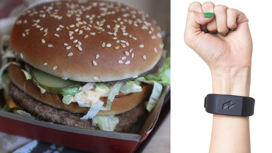 A burger is seen in this 2018 file photo, alongside the Pavlok bracelet.