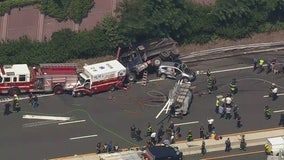 Dump truck hits, injures 2 state troopers in NJ crash