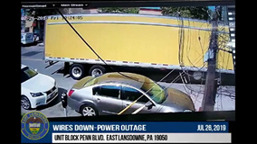 Police release video of tractor-trailer knocking down PECO poles and power lines in East Lansdowne