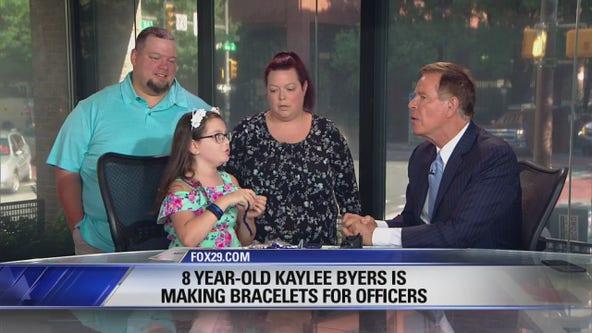 Kaylee Byers, 8, makes bracelets for police officers!