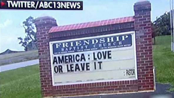 Congregation walks out of service amid church sign controversy