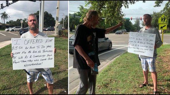 Man confronted by panhandler who rejected offer for work