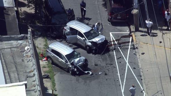Crews on scene of multi-vehicle crash involving Philly police car