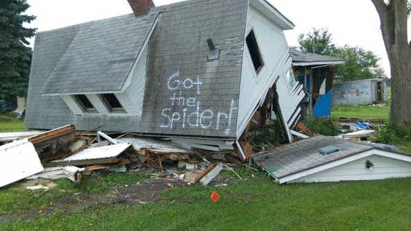 'Got the spider!' Couple's joke on demolished house goes viral