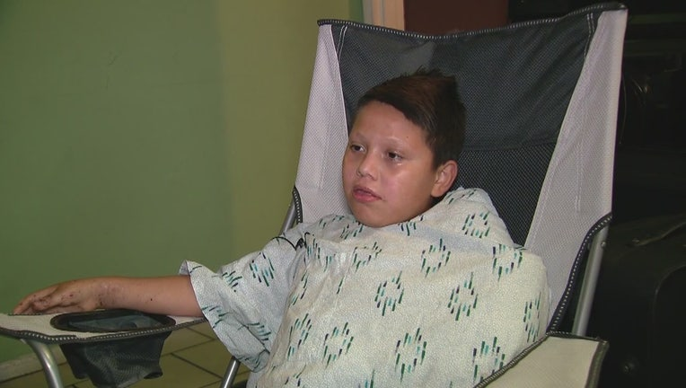 10-year-old Aaron Carreto lost his hand when neighbors threw lit fireworks at him.