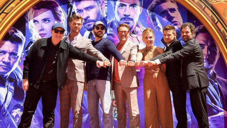 President of Marvel Studios/Producer Kevin Feige, Chris Hemsworth, Chris Evans, Robert Downey Jr., Scarlett Johansson, Mark Ruffalo, and Jeremy Renner attend the Marvel Studios' 'Avengers: Endgame.'(Photo by Matt Winkelmeyer/Getty Images)