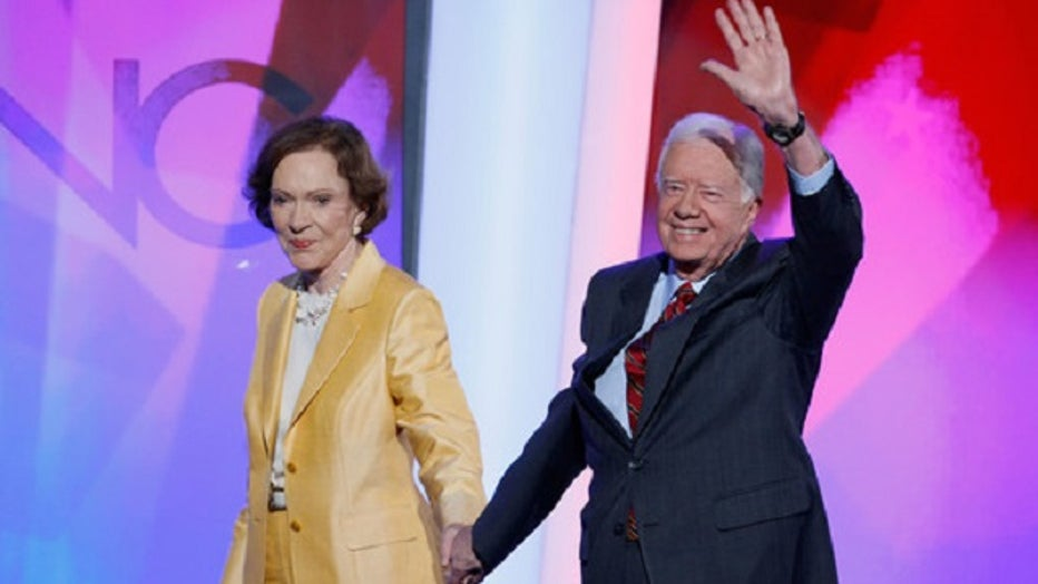 Former U.S. President Jimmy Carter and former First Lady Rosalynn Carter at the Democratic National Convention August 2008 (Photo by Mark Wilson/Getty Images)