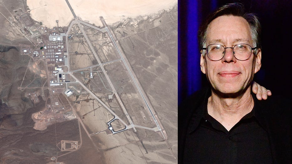 """The U.S. Air Force facility known as Area 51 is shown in a satellite image, alongside Bob Lazar attending a screening of """"Bob Lazar: Area 51 & Flying Saucers"""" on December 3, 2018 in Los Angeles. (Photos: DigitalGlobe & Jerod Harris/Getty Images)"""