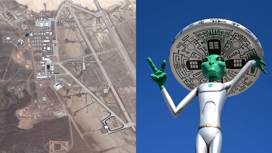 "The U.S. Air Force facility commonly known as Area 51 is shown in a satellite image, alongside an alien sculpture in Baker, California, also known as the ""Gateway to Area 51."" (Photo credit: DigitalGlobe and FREDERIC J. BROWN/AFP/Getty Images)."