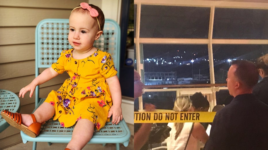 Chloe, 18 months, is shown in an undated family photo, alongside a provided image of the windows on the Royal Caribbean cruise ship. (Photo credit: Provided via Attorney Michael Winkleman of Lipcon, Margulies, Alsina & Winkleman)