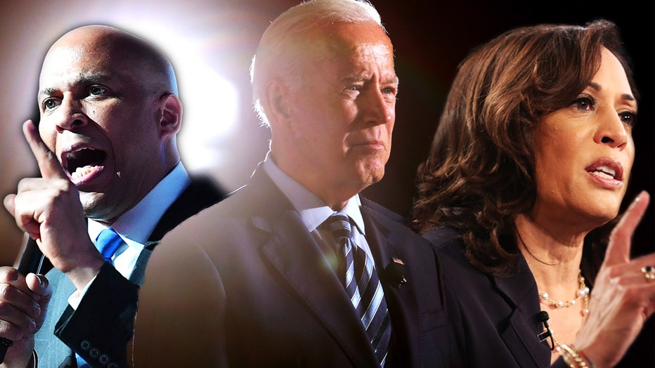Cory Booker and Kamala Harris will flank Joe Biden during the second night of the second round of Democratic debates on Wednesday night.