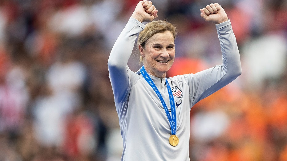 Jill Ellis, Head Coach of USA celebrates following the USWNT victory in the 2019 FIFA Women's World Cup Final match against The Netherlands at Stade de Lyon on July 07, 2019 in Lyon, France.