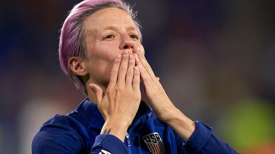 Megan Rapinoe of USA say thanks to the fans during the 2019 FIFA Women's World Cup France Semi Final match between England and USA at Stade de Lyon on July 02, 2019 in Lyon, France.
