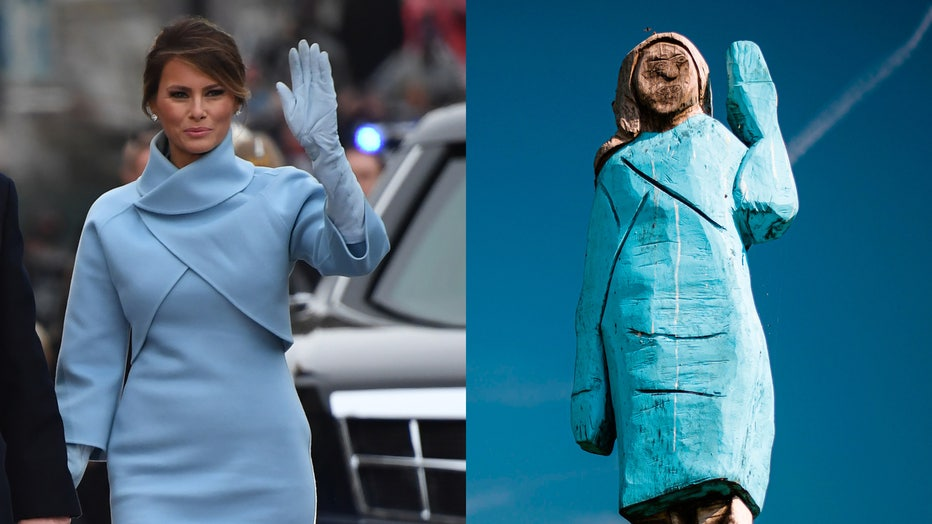 First lady Melania Trump walks the inaugural parade route on Jan. 20, 2017, alongside a picture taken July 5, 2019 showing the statue in fields near town of Sevnica. (Photo credit: JIM WATSON/AFP/Getty Images and JURE MAKOVEC/AFP/Getty Images)