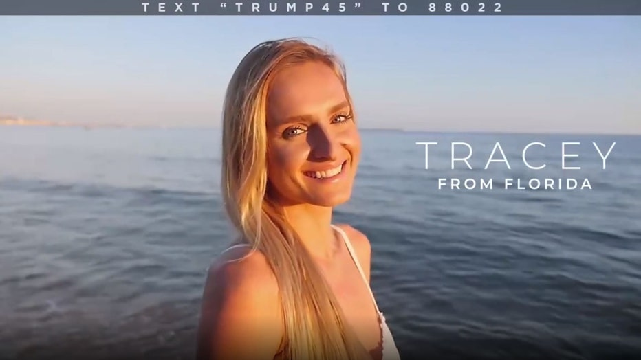 A frame from a series of Facebook video ads for President Donald Trump's re-election campaign shows a model portraying an actual Trump supporter. (Photo credit: Trump Make America Great Again Committee)
