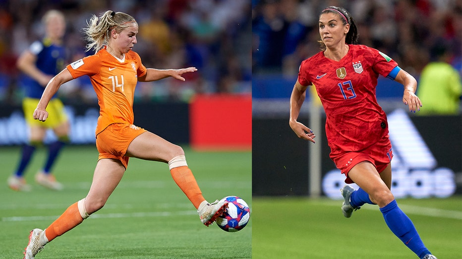 Jackie Groenen(L) of Netherlands and Alex Morgan (R) of USA will face off with their teams in the 2019 FIFA Women's World Cup final Sunday.