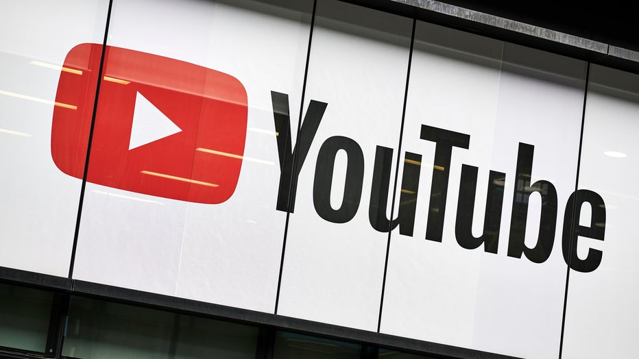 Detail of the YouTube logo outside the YouTube Space studios in London, taken on June 4, 2019. (Photo by Olly Curtis/Future Publishing via Getty Images)