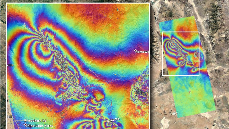 NASA's Advanced Rapid Imaging and Analysis team created this map, which shows surface displacement caused by the recent major earthquakes in Southern California on July 4 and July 5, 2019. (Photo credit: NASA/JPL-Caltech)