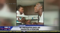 NY Firefighter gives daughter pedicure in viral video