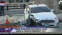 Police searching for suspect after chase, crash in University City
