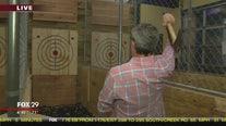 Bob Kelly tries axe throwing at Steel Pier in Atlantic City