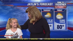 Jaylin Zacniewski helps Sue Serio with the weather