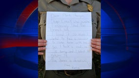 Girl sends back 'souvenir' rock, apology letter to national park