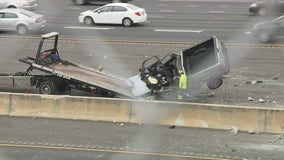 Truck drives off overpass, crashes into I-75