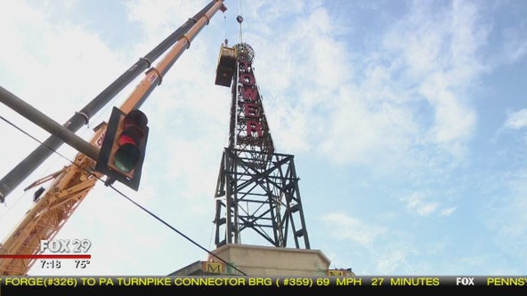 Tower Theater's iconic spire tower removed due to public safety concerns