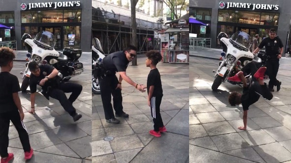 Boy, officer bust out insane moves in break dance face off