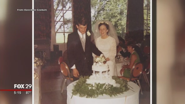 Couple celebrates anniversary with nearly half a century wedding cake