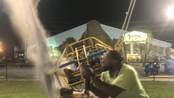 Video: Cable snaps seconds before slingshot ride launches