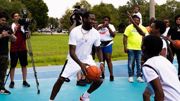 Meek Mill unveils renovated basketball court in hometown