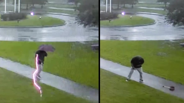 Video shows man nearly struck by lightning in South Carolina