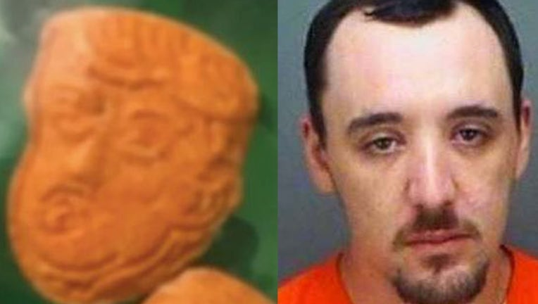Photo credit/Brendan Dolan-King/Clearwater Police Dept. Photo credit/Trump-shaped pills/Indiana State Police