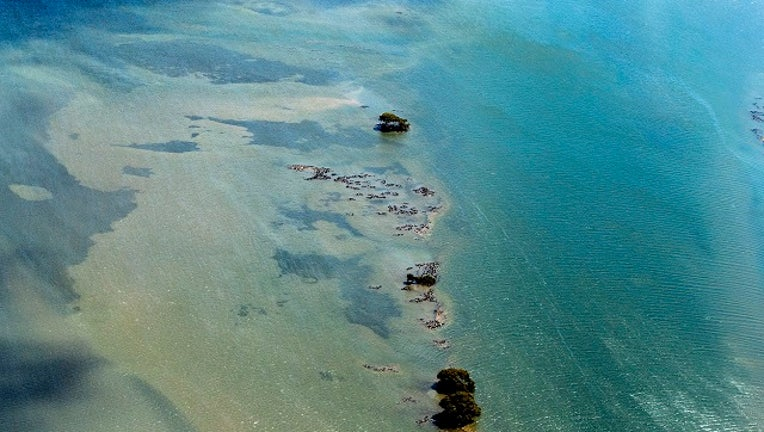 An aerial view of Great Barrier Reef in Australia.