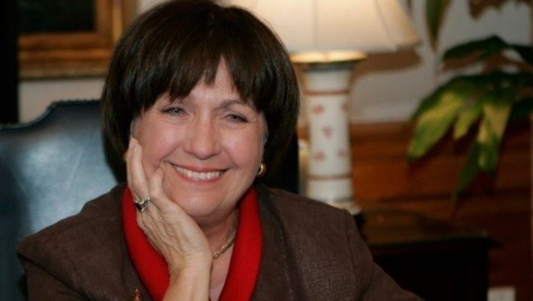 In this Dec. 18, 2007, file photo, Louisiana Gov. Kathleen Blanco conducts an interview in her office Baton Rouge, La. Louisiana officials are calling for prayers for Blanco, Wednesday, April 17, 2019, who has entered hospice care due to cancer.