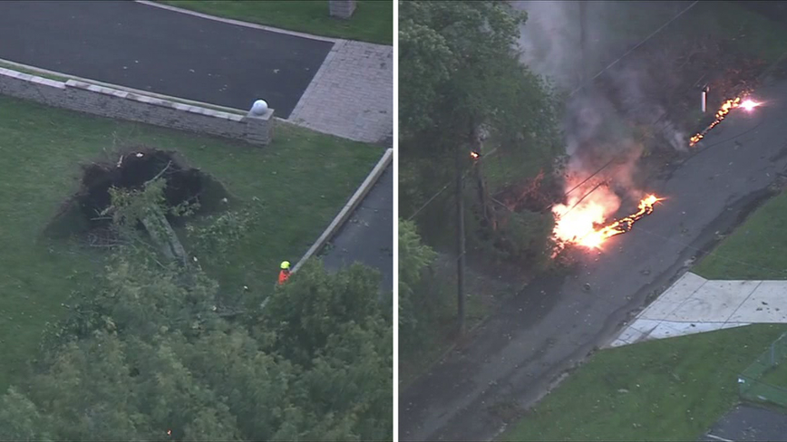 Severe storms leave behind damage, spark fire in New Jersey