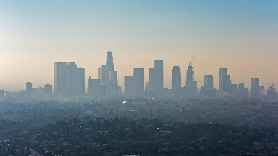 Downtown Los Angeles with an inversion layer of smog.