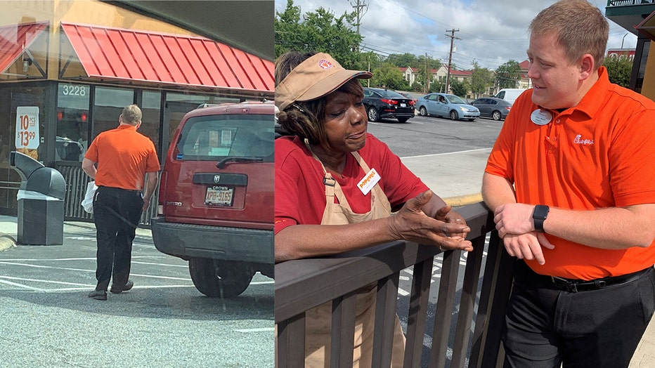 Jené Walker captured a Chick-fil-Aemployee walking over to a nearby Popeyes and handing out free sandwiches to Popeyesemployees.