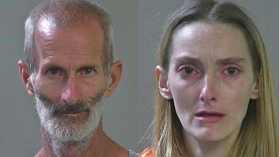 Eugene Bergener, 50, and Moranda Young, 32, are pictured in booking photos. (Photo: Canyon County Jail)