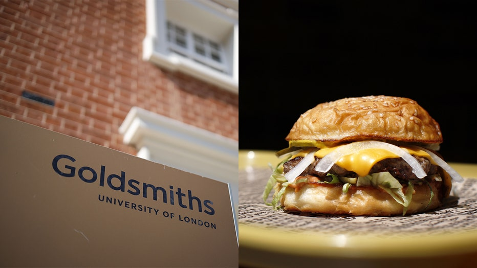 Left:A picture shows the facade of Goldsmiths University of London. Right: A burger is served. The university announced a ban on all beef products to fight climate change.