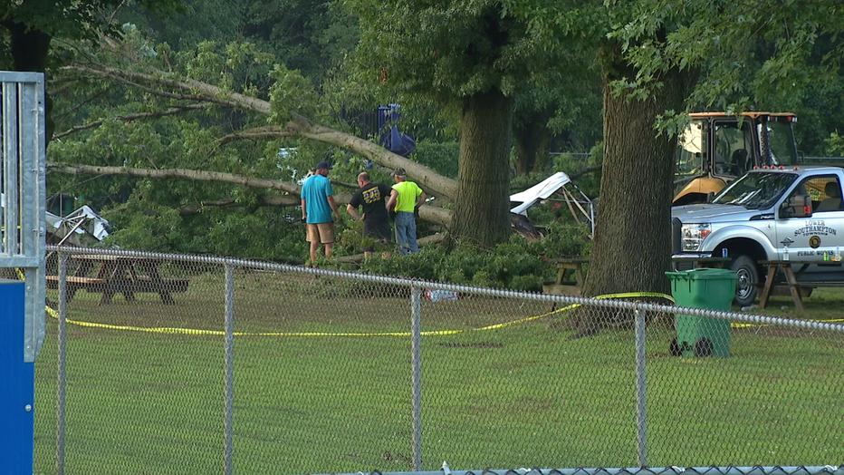 Tree down at Bucks County swim club
