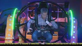 Bob Kelly rides the flip zone bumper cars at Urban Air