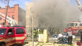 Crews battle 3-alarm fire at vacant Camden church; firefighter injured